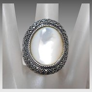 Designer Sterling Silver Marcasite & Mother of Pearl Saddle Ring, Size 8 1/4