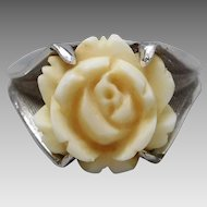 Vintage Sterling Silver Carved Faux Ivory Rose Ring, Size 6