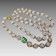 **LAST CALL** Vintage Italian White & Aventurine Venetian Murano Cased Art Glass Bead Necklace