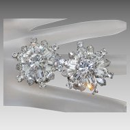 Vintage Weiss White Crystal Rhinestone Rhodium Plated Clip Earrings