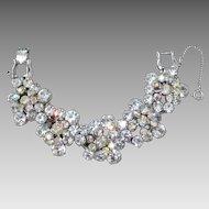 Vintage D&E Juliana Aurora Borealis & White Rhinestone Cluster Bracelet.