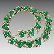 Trifari Jewels of India Jadeite-Color Art Glass Collar Necklace