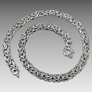 Massive Sterling Silver Byzantine Link Necklace 18""