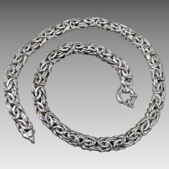 """Massive Sterling Silver Byzantine Link Necklace 18"""""""
