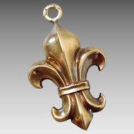 Vintage 14K Gold Puffy Fleur-de-Lis Charm