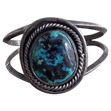 Old Southwest Sterling Silver & Blue Diamond Turquoise Cuff Bracelet