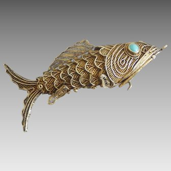 Gold Overlay Sterling Silver Articulated Wiggle Fish Pendant.
