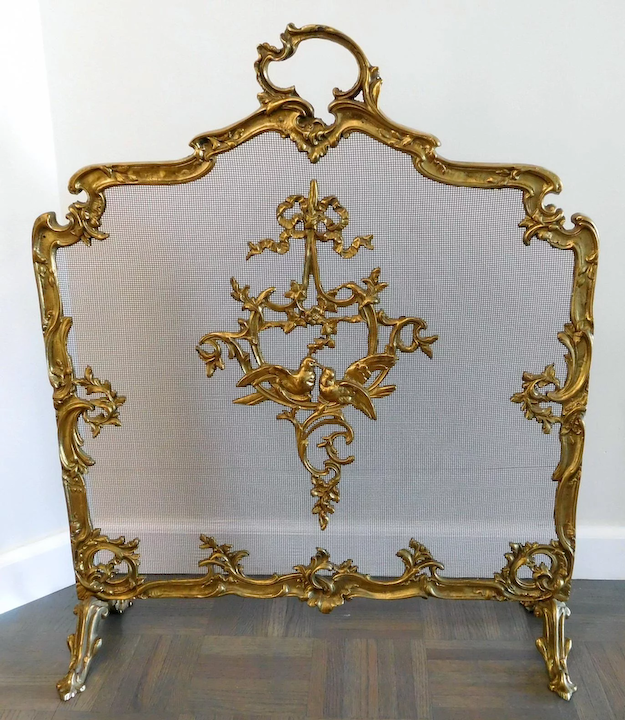 Antique Fireplace Screen >> Antique Footed Ormolu Fireplace Screen With Bird Accents The
