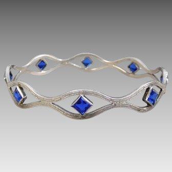 Vintage Art Deco Sterling Silver & Royal Blue Art Glass Bangle Bracelet