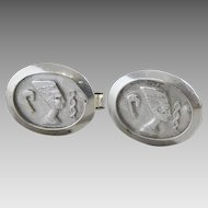 Vintage Sterling Silver Deep Cast Egyptian Hieroglyphics Cufflinks