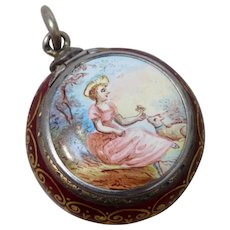 Antique Sterling Silver Enamel Vinaigrette Featuring 18th Century Lady & Lamb - Red Tag Sale Item
