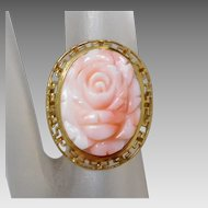 Estate 14K Gold Ring with Carved Angel Skin Coral Flower