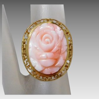 ** LAST CALL ** Estate 14K Gold Ring with Carved Angel Skin Coral Flower