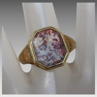 Antique Men's 14K Gold & Red Moss Agate Poison Locket Ring, Size 10