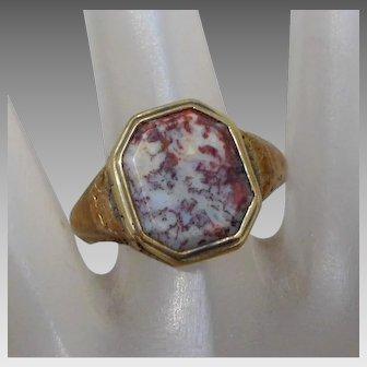 Antique Men's 14K Gold & Red Moss Agate Poison Locket Ring, Size 10