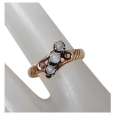 Antique 10K Gold & Moonstone Cabochon Victorian Ring, Size 5 3/4
