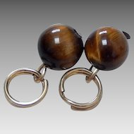 14K Solid Gold & Tigers Eye Earring Enhancer Charms