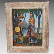 Minna Feinberg Andrews Mid Century Semi-Nude Islander Oil Painting