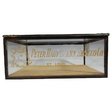 Antique Peter Hauptmann Tobacco Co, Glass Cigar Humidor Saint Louis Missouri