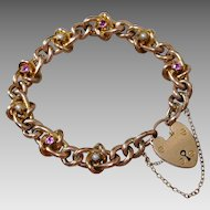 Antique 9K Rose Gold Ruby & Pearl Heart Lock Charm Bracelet, 19.8 grams