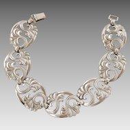 Vintage Sterling Silver Palm Frond Link Bracelet