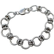 Vintage Sterling Silver Link Bracelet With Diamond Cut Accents
