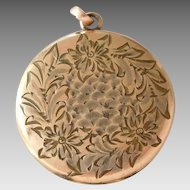 Large Antique Gold Filled Locket with Engraved Flowers