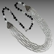 Vintage Artisan Jet-Black Glass & Clear Faceted Crystal Statement Necklace