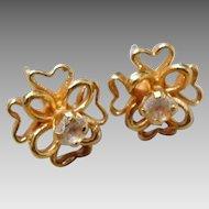 Estate 14K Yellow Gold & Diamond Flower Stud Earrings