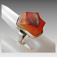 Vintage Artisan Sterling Silver & Fire Orange Agate Geode Statement Ring