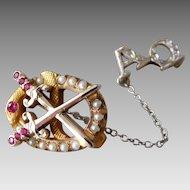 Vintage 10K Gold Ruby & Pearl Alpha Omega Sorority Pin