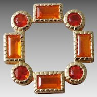 14K Yellow Gold & Orange Citrine Moroccan Design Necklace Enhancer