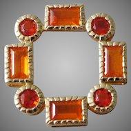 14K Yellow Gold & Orange Citrine Moroccan Design Necklace Enhancer