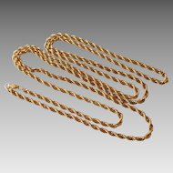 "Estate 36"" 12K Gold Filled Rope Chain Necklace"