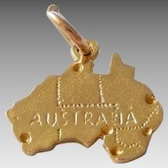 Vintage 9K Solid Gold Australia Charm Pendant