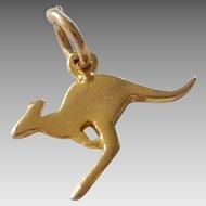 Vintage 9K Solid Gold Kangaroo Charm Pendant