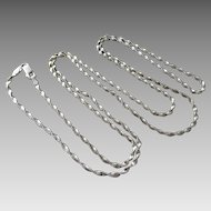 "Italian Sterling Silver 31"" Twisted Herringbone Chain Necklace"