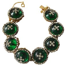 Vintage Miriam Haskell Jewel Green Art Glass Rhinestone Bracelet