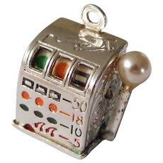 Vintage 3D Sterling Silver Moveable Slot Machine Charm