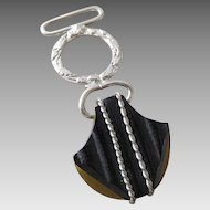 Vintage Silver Tone & Carved Two Tone Black & Apple Juice Bakelite Pocket Watch Fob Charm