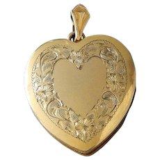 Vintage 12K Gold Filled Engraved Heart Locket Pendant