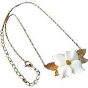 Vintage 14K Gold Filled Carved Dogwood Blossom Pendant Necklace