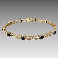 Vintage Sterling Silver Vermeil Infinity Link & Sapphire Tennis Bracelet