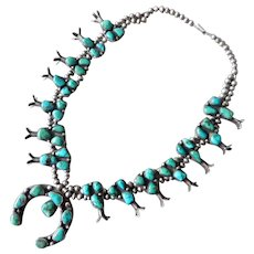 Vintage Sterling Silver Native American Pilot Mountain Turquoise Squash Blossom Necklace