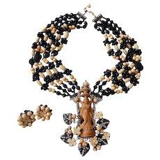 Vintage Larry Vrba Red Black Art Glass Indian Goddess Runway Necklace, Brooch & Earrings Set