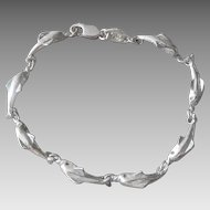 Vintage Italian Sterling Silver Dolphin Link Bracelet