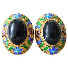 Old Chinese Gold Overlay Sterling Silver Enamel Filigree Clip Earrings