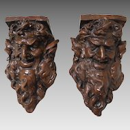 Antique Pair of Plaster Druid Fairy King Wall Plaques Sconces