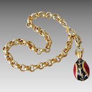 Vintage Gold Plated Red & Black Russian Imperial Egg Charm Bracelet