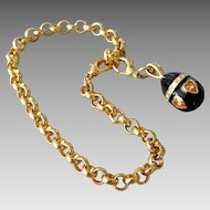 Vintage Gold Plated Black & Amber Crystal Russian Imperial Egg Charm Bracelet
